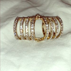 Gold and crystal BaubleBar Hinged Knuckle Ring